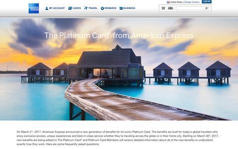 Screenshot of FAQ Page americanexpress.com - The Next Generation of Platinum Card Membership - FAQs - captured March 3, 2017