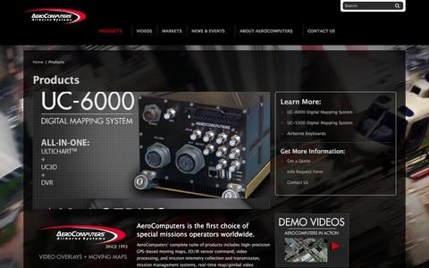 Screenshot of Products Page aerocomputers.com - Mission Management Systems, Augmented Reality Overlays, HD LCD Displays and Rugged Keyboards - captured Feb. 5, 2016