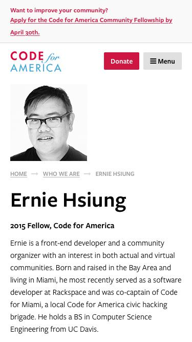 Screenshot of Team Page  codeforamerica.org - Ernie Hsiung - Code for America