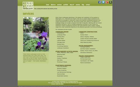 Screenshot of Services Page arborgreengardens.com - Landscape Design Services in DC, MD and VA | Arbor Green Landscapes - captured Oct. 4, 2014