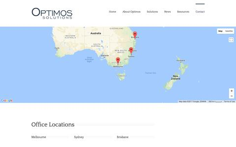 Screenshot of Contact Page Jobs Page optimos.com.au - Optimos Optimos Contact & Locations - Optimos - captured Oct. 21, 2017