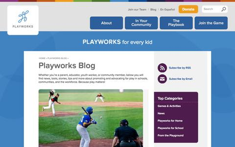 Screenshot of Blog playworks.org - Playworks Blog | Playworks - captured Sept. 23, 2014