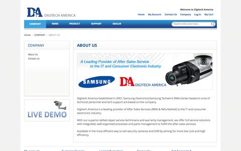 Screenshot of About Page digitechamerica.com - ABOUT US - COMPANY - captured Sept. 30, 2014