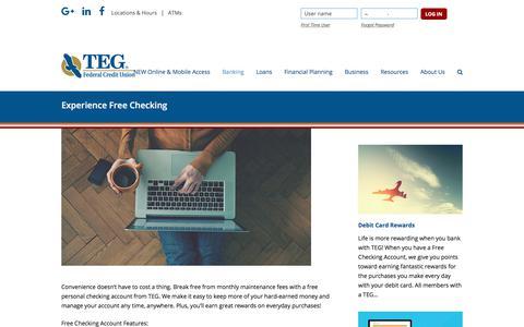 Screenshot of tegfcu.com - Experience Free Checking – TEG Federal Credit Union - captured Dec. 2, 2017