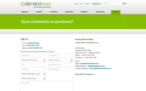 Screenshot of Contact Page demandware.com - Demandware | Contact Us - captured July 20, 2014