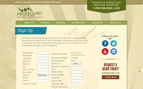 Screenshot of Signup Page proteus420.com - PROTEUS420, The enterprise class Inventory, Client, POS and Delivery management system for Medical Marijuana Dispensaries WorldWide. - captured Sept. 30, 2014