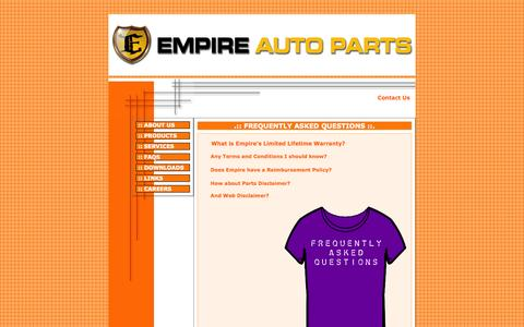 Screenshot of FAQ Page empireauto.biz - EMPIRE AUTO PARTS, INC. - captured Oct. 2, 2014