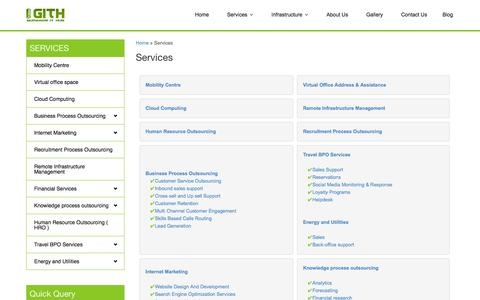 Screenshot of Services Page gurgaonithub.com - Call center services in Gurgaon,Contact Center Services,Outsource back office,IT Services in Gurgaon,Cloud computing - captured Sept. 30, 2014
