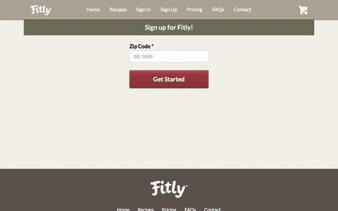 Screenshot of Signup Page fitly.com - Fitly® - Delicious. Delivered.™ - captured Oct. 28, 2014