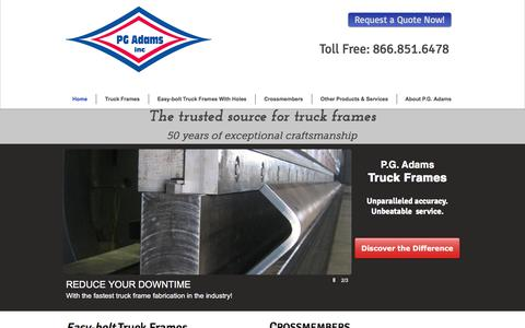 Screenshot of Home Page pgadams.com - PG Adams, Inc: The Trusted Source for Truck Frames for Over 45 Years - captured Sept. 25, 2018