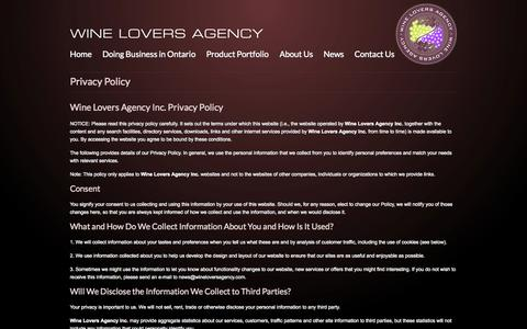 Screenshot of Privacy Page wineloversagency.com - Wine Lovers Agency Privacy Policy - captured Oct. 26, 2014