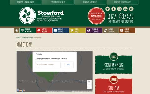 Screenshot of Maps & Directions Page stowford.co.uk - Directions | Stowford Farm Meadows - captured Oct. 18, 2018