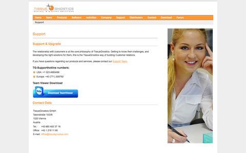 Screenshot of Support Page tissuegnostics.com - TissueGnostics - captured Oct. 9, 2014