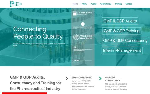 Screenshot of Home Page Menu Page pcs-nl.com - GMP & GDP - Audits, Consultancy, Training - Pharmaceutical Consultancy Services (PCS) - captured Nov. 9, 2018