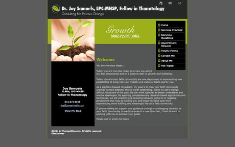 Screenshot of Home Page joysamuels.com - Dr. Joy Samuels provides conflict transformation, appreciative inquiry, counseling and strategic planning for faith communities in and around nashville, tn - captured Oct. 4, 2014