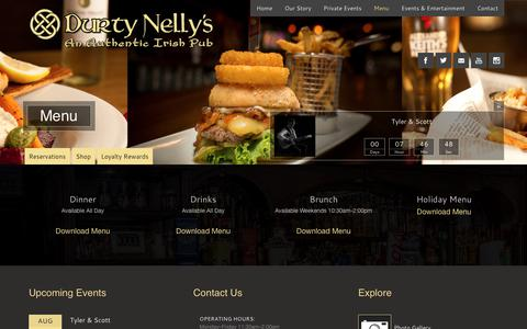 Screenshot of Menu Page durtynellys.ca - Menus at Durty Nelly's - An Authentic Irish Pub - captured Aug. 8, 2017
