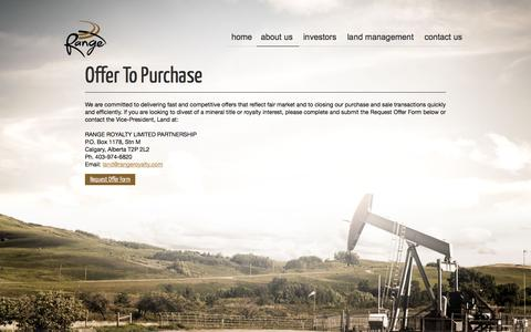 Screenshot of About Page rangeroyalty.com - Offer To Purchase | Range Royalty Limited Partnership - captured Oct. 7, 2014