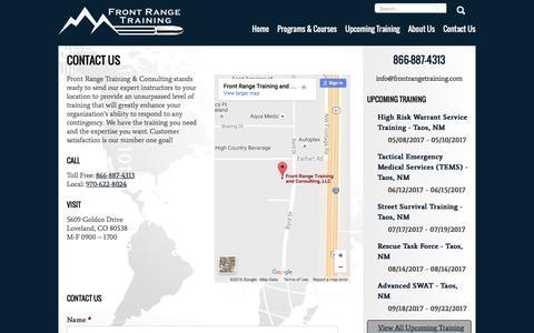 Screenshot of Contact Page frontrangetraining.com - Contact Us - captured Nov. 25, 2016