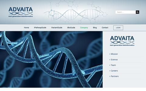 Screenshot of Jobs Page Team Page advaitabio.com - About Advaita - Tools for Pathways, miRNAs and Gene Ontology - Advaita Bioinformatics - captured Nov. 12, 2018