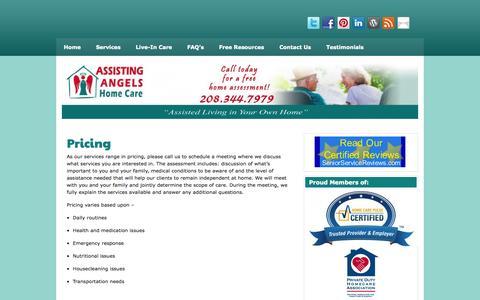 Screenshot of Pricing Page assistingangels.biz - Boise Home Care | - captured Oct. 4, 2014