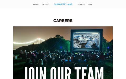 Screenshot of Jobs Page exposurelabs.com - Careers — Exposure Labs - captured Jan. 17, 2018