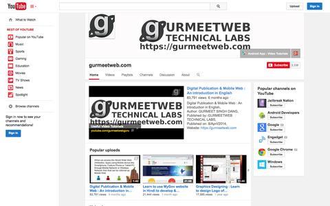 Screenshot of YouTube Page youtube.com - gurmeetweb.com  - YouTube - captured Oct. 22, 2014