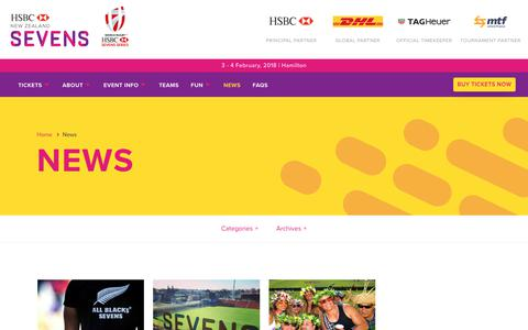 Screenshot of Press Page sevens.co.nz - News | HSBC NZ Sevens - captured Oct. 25, 2017