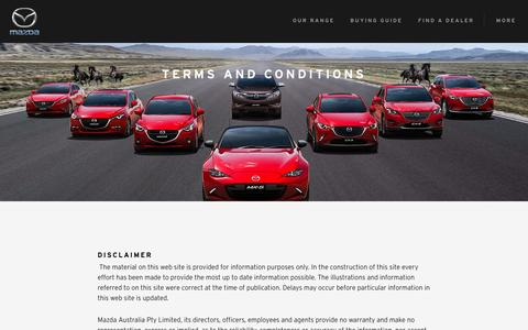 Screenshot of Terms Page mazda.com.au - Terms & Conditions   Mazda Australia - captured May 2, 2017