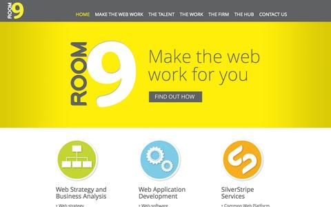 Screenshot of Home Page room9.co.nz - Home » Room9 - Website and Web application development - SilverStripe Professionals - captured Oct. 7, 2014