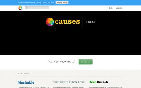 Screenshot of Press Page causes.com - Press  · Causes - captured July 19, 2014