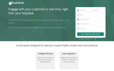 Screenshot of Landing Page freshdesk.com - Live Chat - captured Aug. 19, 2016
