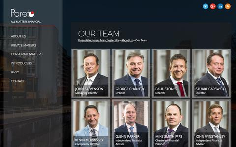 Screenshot of Team Page paretofp.co.uk - Financial Adviser Manchester- Our Team of Financial Advisers - captured March 25, 2018