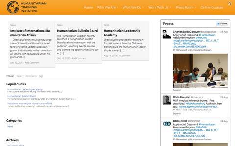 Screenshot of Press Page humanitariantraininginitiative.org - Humanitarian Training Initiative   Professionalizing Humanitarian Action - captured Sept. 30, 2014