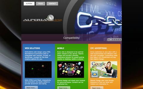 Screenshot of Home Page alperia.com - Alperia Design | Oxfordshire Web Design | Creative CMS and E-commerce - Alperia Design - captured Sept. 23, 2014
