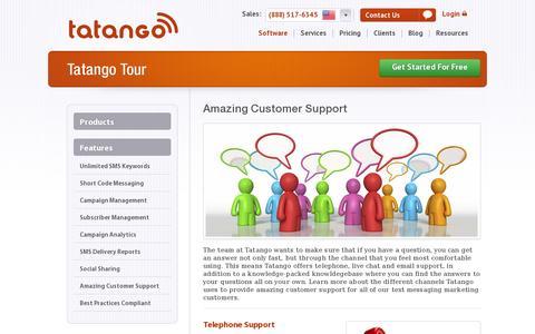 Screenshot of Support Page tatango.com - Amazing Customer Support | Tatango - captured July 20, 2014