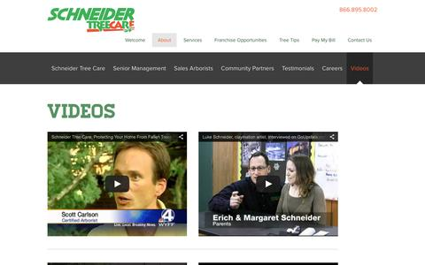Screenshot of Press Page schneidertree.com - Videos - Schneider Tree Care - captured Feb. 4, 2016