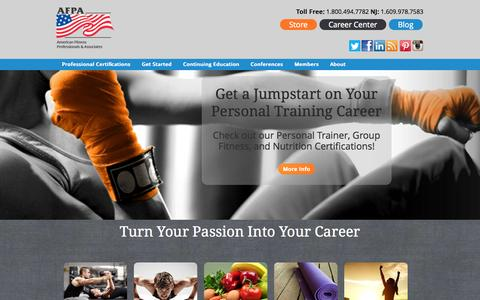 Screenshot of Contact Page afpafitness.com - AFPA Fitness and Nutrition Certification - captured Sept. 24, 2014
