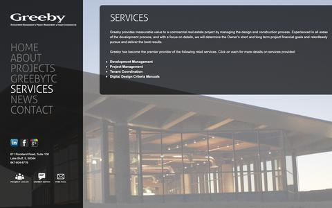 Screenshot of Services Page greeby.com - Services ‹ The Greeby Companies - captured Dec. 21, 2018