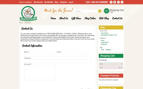Screenshot of Contact Page gagababy.ie - Contact Us - captured Oct. 1, 2014
