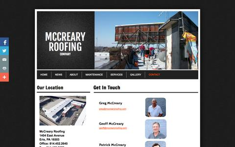 Screenshot of Privacy Page Contact Page mccrearyroofing.com - Contact - captured Oct. 22, 2014