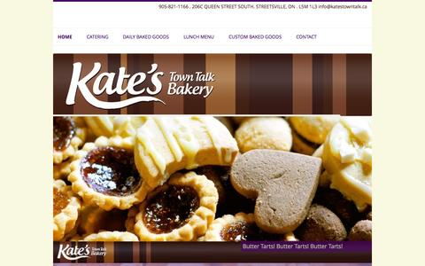 Screenshot of Home Page katestowntalk.ca - Kate's Town Talk Bakery - captured Oct. 6, 2014