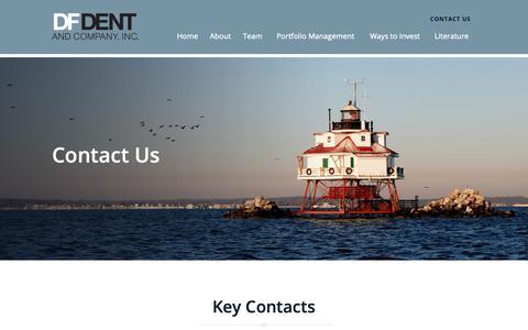 Screenshot of Contact Page dfdent.com - Contact Us - D.F. Dent & Co., Inc. - captured Oct. 7, 2018