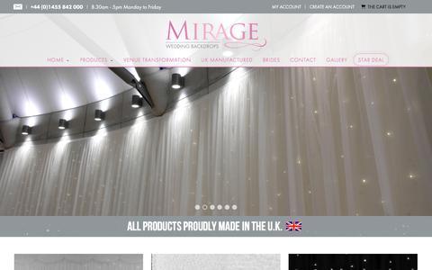 Screenshot of Home Page mirageweddingbackdrops.co.uk - Wedding Backdrops | Luxury Backdrops Made In UK - captured Jan. 25, 2018
