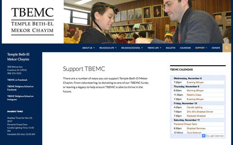 Screenshot of Support Page tbemc.org - Support TBEMC | TBEMC - captured Nov. 8, 2017
