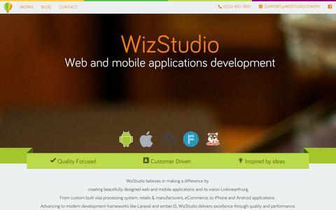 Screenshot of Home Page wiz-studio.com - WizStudio Web Applications Development | iPhone Applications Development | Android Applications Development - captured Oct. 6, 2014