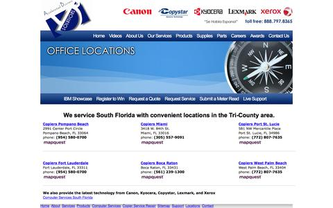 Screenshot of Locations Page a-bs.com - Locations in Miami, Fort Lauderdale, Boca Raton, Pompano Beach, and West Palm Beach - captured Nov. 19, 2016