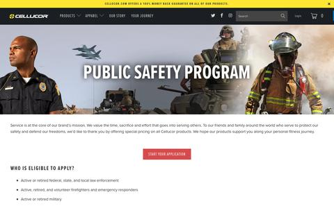 Screenshot of Signup Page cellucor.com - Public Safety Officers - captured July 6, 2017