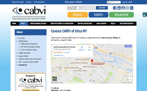 Screenshot of Contact Page cabvi.org - Contact the Central Association for the Blind and Visually Impaired | Utica, NY - captured July 20, 2017