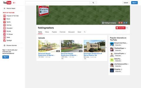 Screenshot of YouTube Page youtube.com - ficklingrealtors  - YouTube - captured Oct. 23, 2014