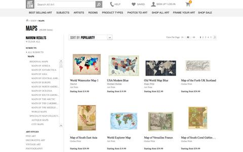 Screenshot of Maps & Directions Page art.com - Maps, Posters and Prints at Art.com - captured March 2, 2016